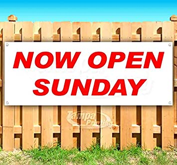 Store Sunday Service 13 oz Heavy Duty Vinyl Banner Sign with Metal Grommets New Advertising Many Sizes Available Flag,
