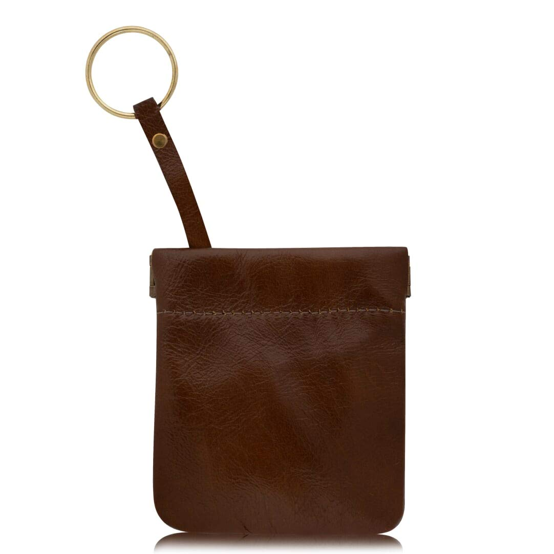 c09a938d4865 Genuine Leather Squeeze Coin Purse, Pouch Made IN U.S.A. Change Holder For  Men/Woman Size 3.5 X 3.5