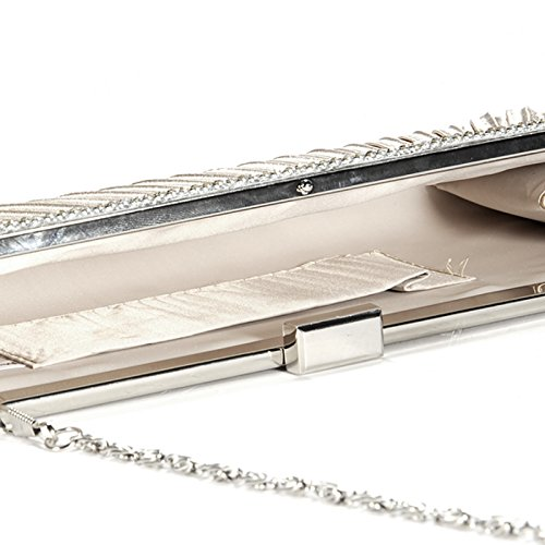 Evening Anladia Bridal Purse Diamante Beige Satin Clutch Prom Crystal Steel Bag qIzPI8