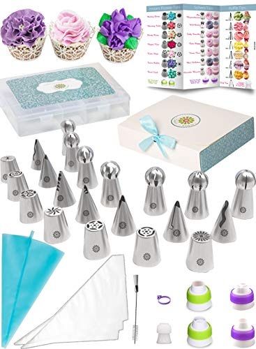 (69pc) Quick'nEasy Cake Decorating Supplies Kit - 3in1 Russian Piping Tips Set, Icing Bags, User Guide, Cupcake Wrappers In Cute Gft Box. Perfect for Making Flower Frosting | Baking Memories Together by Cakes of Eden (Image #9)