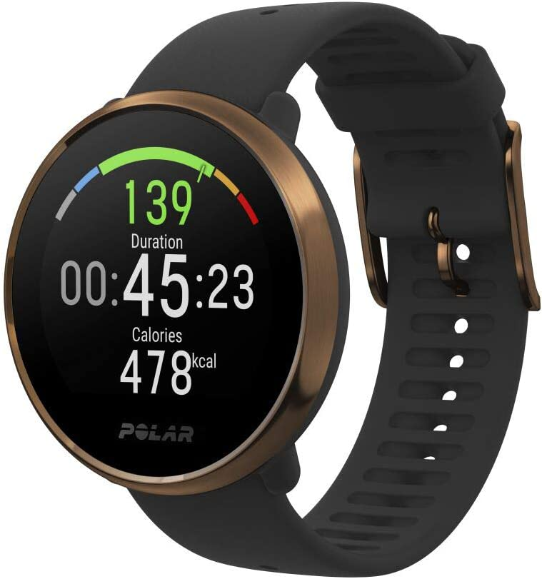 Polar Ignite – Reloj de fitness con GPS integrado, pulsómetro de muñeca, guías de entrenamiento - hombre/mujer- negro/cobre M/L