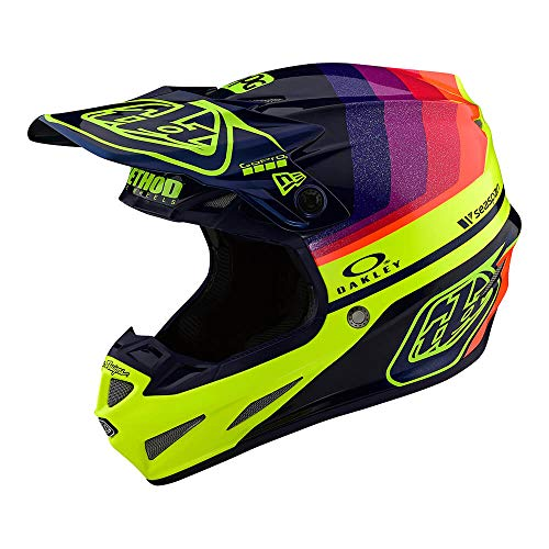 Troy Lee Designs Adult | Offroad | Motocross | Limited Edition SE4 Carbon Mirage Helmet with MIPS (X-Large, Navy/Flo Yellow)