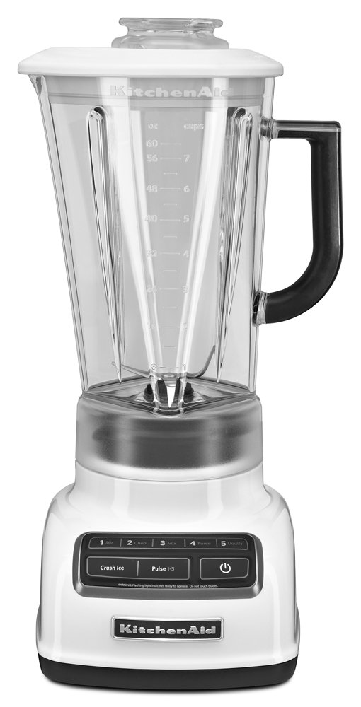 KitchenAid KSB1575WH 5-Speed Diamond Blender with 60-Ounce BPA-Free Pitcher - White