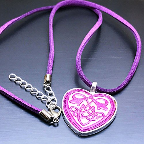 Partner Costumes For Teenage Girls (Hand-Painted Veg Tanned Leather Pink Celtic Heart Pendant Necklace)