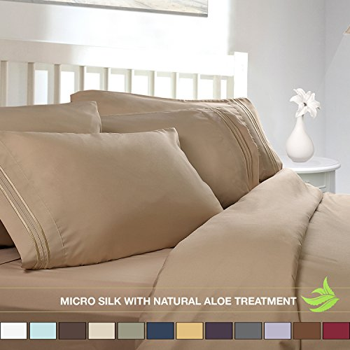 Luxury Bed Sheet Set - Soft MICRO SILK Sheets - Queen Size, Cream Beige - with Pure Natural ALOE VERA Skin Soothing Moisturizing Treatment - Healthy Calming Properties Will Make You Have A Relaxed and Refreshed Sleep - Highest Quality with Strong Stitching Will Make Your Sheet Set Last For Many Years - Get the Luxurious Look and Silky Feel No Other Sheet Set can Offer - Clara Clark (Clara Clark Silk Sheets)