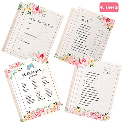 Konsait 40x Bridal Shower Games, Wedding Game Cards Advice for The Bride Cards, How Well do You Know The Bride, 4 Games, for Wedding Shower or Bridal Shower Party Favor Supplies Accessories,5 x 7 -