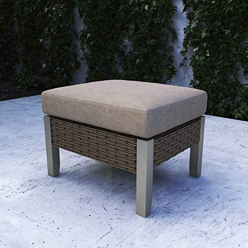 Festival Depot Dining Outdoor Patio Bistro Furniture Ottoman Footstool with Premium Fabric Soft 3.9 Cushion Wicker Rattan Square with Metal Slatted Steel Leg Foot Rest for Garden Yard Lawn All-Weather