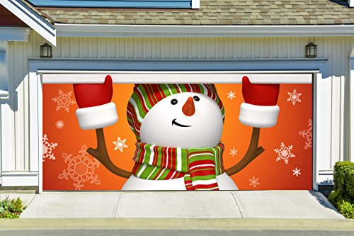 Christmas Garage Door Cover Banners 3d Snowman Holiday Outside Decorations Outdoor Decor for Garage Door G33 by Best_WallDecals_For_You