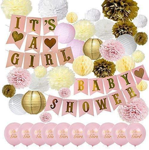 42PCS | Baby Shower Decorations Party | Gender Reveal Set for Girl | Balloons, Banner, Lanterns, Honeycomb Balls & Tissue Paper pom poms ()