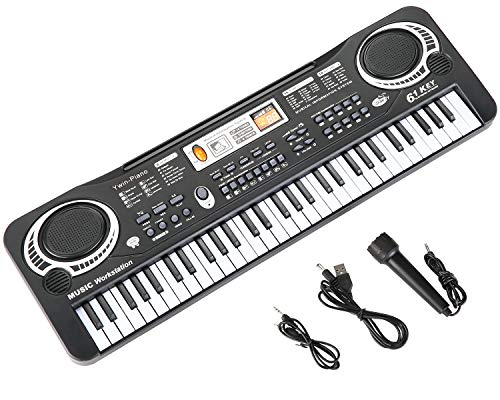 Kids Piano Keyboard Musical Instruments Toys with Microphone and Audio Line,61 Key USB Power or Battery Operated Toddler Portable Piano for Kids 2 3 4 5 6 Years Old Educational Toys Gifts (61 Key)
