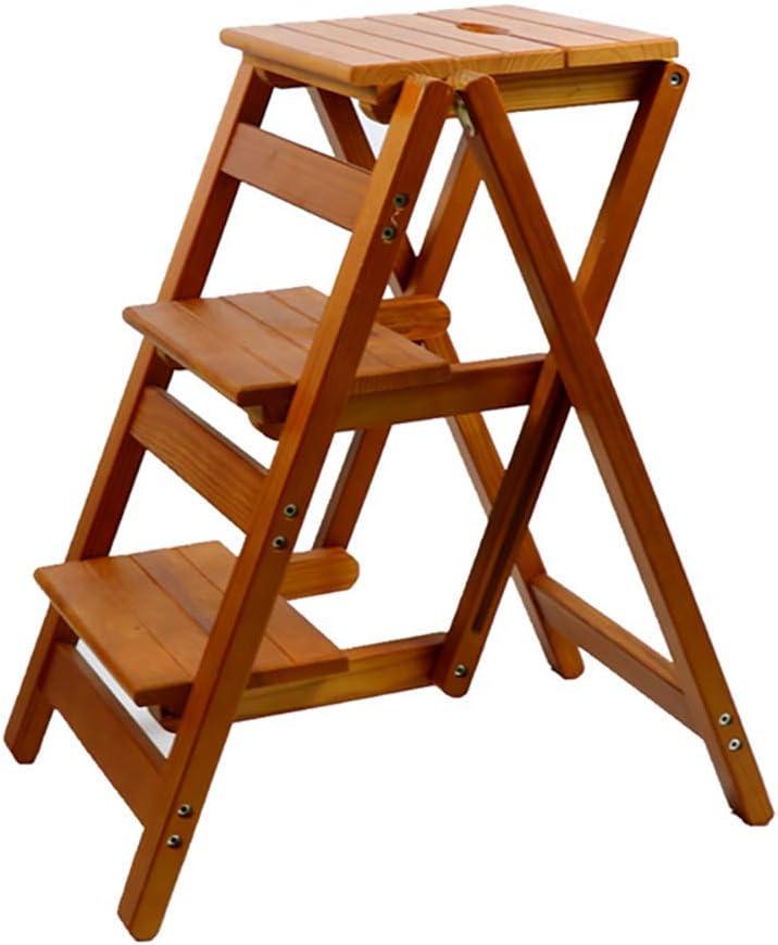 WANNA.ME Escalera de 3 escalones Taburete Silla de Escalera Plegable multifunción Taburete de Doble Uso Escalera de Madera Maciza para el hogar (Color: MARRÓN): Amazon.es: Hogar