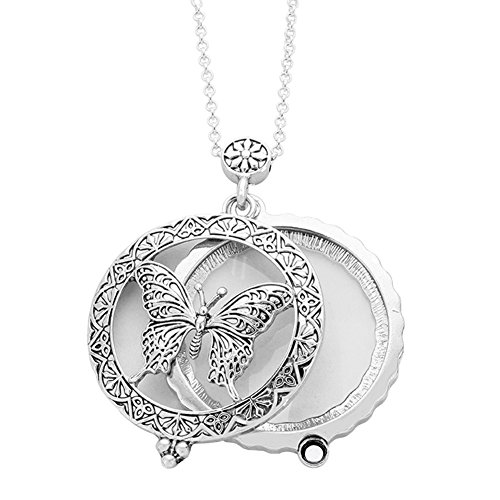 Redwood Antiqued Embossed Filigree Open Work Silvertone Butterfly Magnifying Glass Pendant Necklace, 30