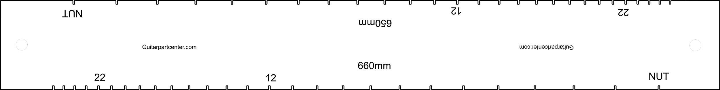 Dual Scal Fingerboard Slotting Template - 650mm & 660mm