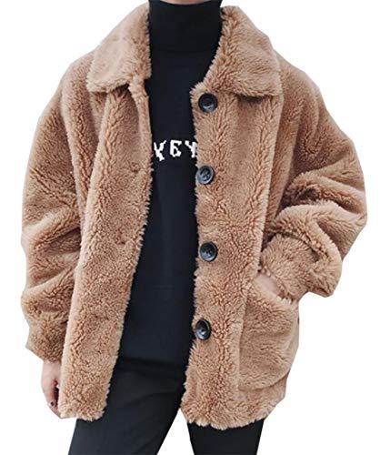 EKU Mens Autumn Lapel Fleece Jacket Solid Color Front Button Jacket 1