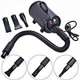 High-Power Adjustable Dog and Cat Pet Grooming Hair Dryer With 3 Different Nozzles (Black)