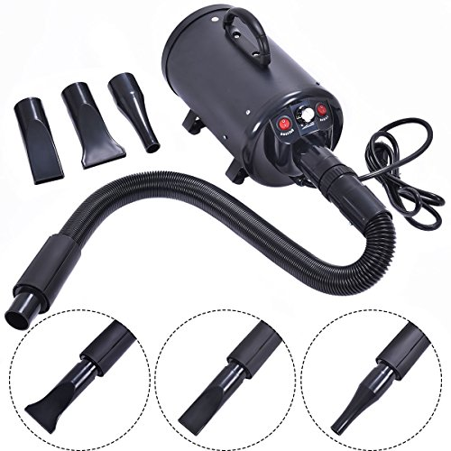High-Power Adjustable Dog and Cat Pet Grooming Hair Dryer With 3 Different Nozzles (3 Speed Dual Blowers)