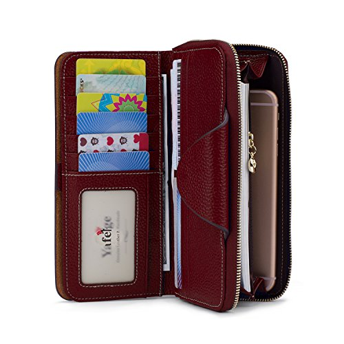 Women's Red Rfid Luxury Dark Blocking Wallet Purse fold Large Ladies Tri Yafeige Clutch Zipper Leather 4x1EZqx