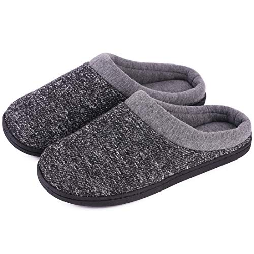Women's Comfort Slip On Memory Foam Slippers French Terry Lining House Slippers w/Anti Slip Sole (11-12 M US, Space Black)