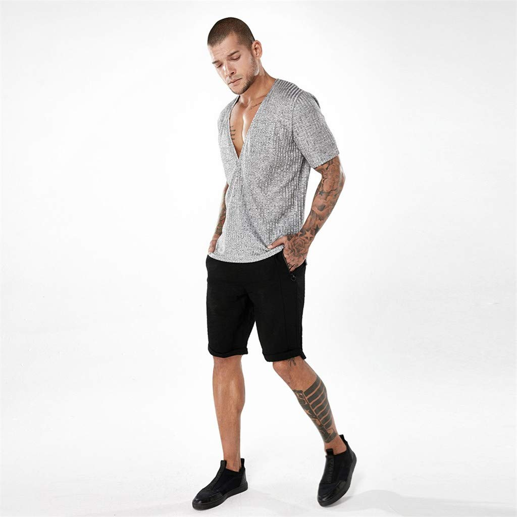 Mens Deep V T-Shirt Casual Slim Short Sleeve Tops