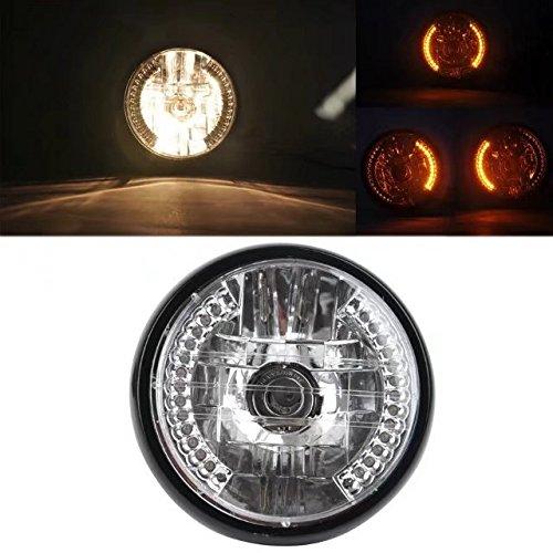 KingFurt Universal Black Bracket Mount Universal 7'' Motorcycle Bike Headlight LED Turn Signal Light