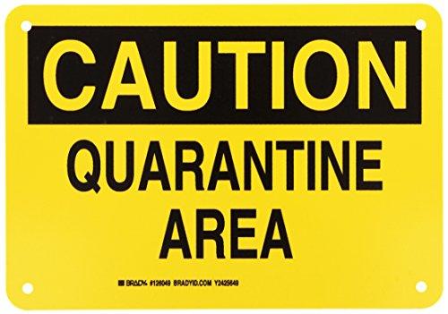 Brady 126049 Chemical and Hazard Sign, LegendQuarantine Area, 7 Height, 10 Width, Black on Yellow