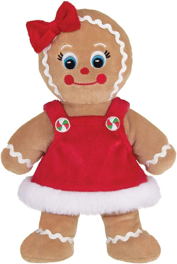 Bearington Holly Ginger Plush Stuffed Animal Gingerbread Girl, 10 Inches