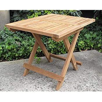 Amazoncom Urban Design Furnishings Folding Teak End Side Table - Teak outdoor end table