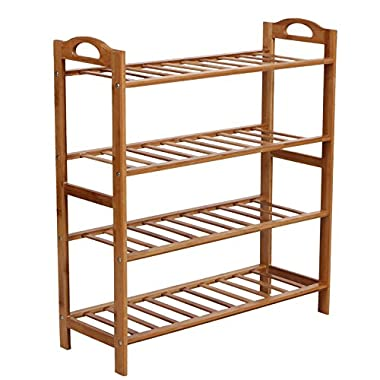 SONGMICS 100% Natural Bamboo 4-Tier Shoe Rack Entryway Shoe Shelf Storage Organizer ULBS94N