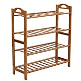 SONGMICS Bamboo Shoe Rack 4-Tier 12-16 Pairs Entryway Shoe Shelf Storage Organizer, ULBS94Z