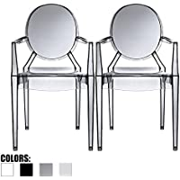2xhome – Set of 2 Modern Ghost Chair Armchair with Arm Polycarbonate Plastic (Smoke)