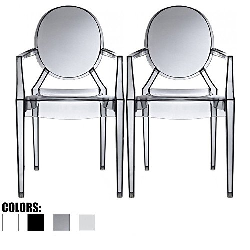 Louis Philippe Dining Room - 2xhome Set of Two (2) Smoke - Louis Style Ghost Armchair Dining Room Chair - Lounge Arm Arms Armed Chairs Armchairs Accent Seat Higher Fine Modern