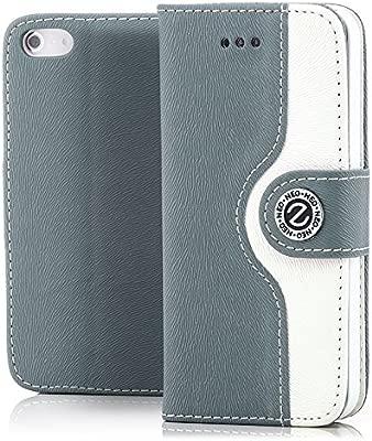Saxonia Funda Apple iPhone 5 / 5S / SE Cubierta Carcasa Protectora Elegante con Ranura para Tarjeta Billetera | Gris-Blanco