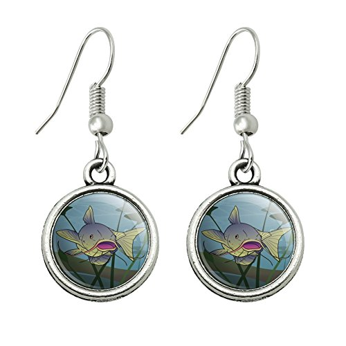 Catfish Swimming Costumes (Catfish Swimming in Water Novelty Dangling Drop Charm Earrings)