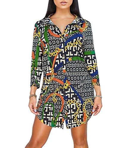 Remelon Womens Chain Geometric Print Button Down Collar Long Shirt Dress Blouse Mini Dress Multi XL