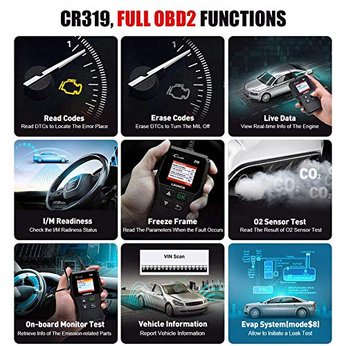 LAUNCH OBD2 Scanner CR319 Automotive Check Engine Code Reader Car Diagnostic Scan Tool Checks O2 Sensor EVAP Test with DTC Lookup Full OBDII Functions