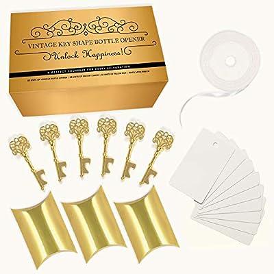 Wedding Favors for Guests Party Favors Rustic Vintage Skeleton Key Bottle Opener with Escort Card Tag 50 Pcs