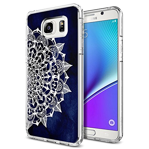 Note 5 Case Midnight Blue Maya Mandala, LAACO Scratch Resistant TPU Gel Rubber Soft Skin Silicone Protective Case Cover for Samsung Galaxy Note 5