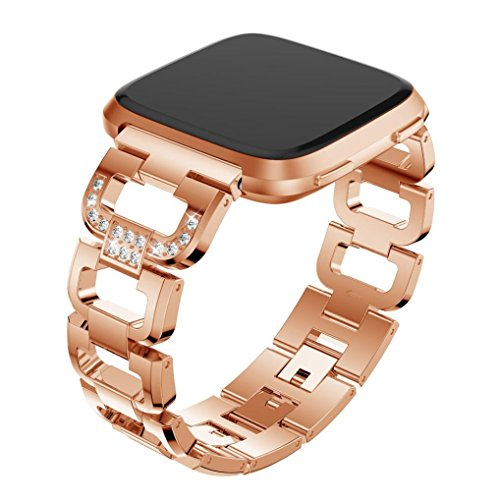 (AutumnFall 1PC Fashion D Word Crystal Metal Watch Band Wrist Strap For Fitbit Versa Smart Watch,22mm Band Length:135-220MM (Rose Gold))