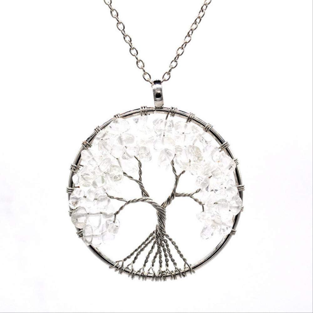 ruofengpuzi 7 Chakra Árbol De La Vida Colgante Collar De Cristal De Cobre Collar De Piedra Natural Colgante De Piedra De Cuarzo Mujeres