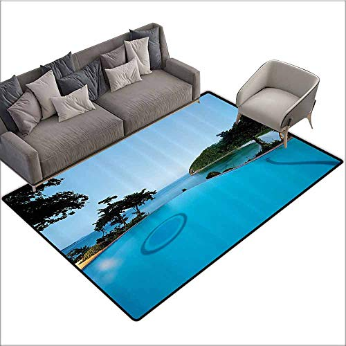 Floor Mats for Living Room House Decor,Pool View at Sunset Beach in Seacoast Ocean Heavenly Vibrant Colors Adventure Photo,Turquoise Green 36