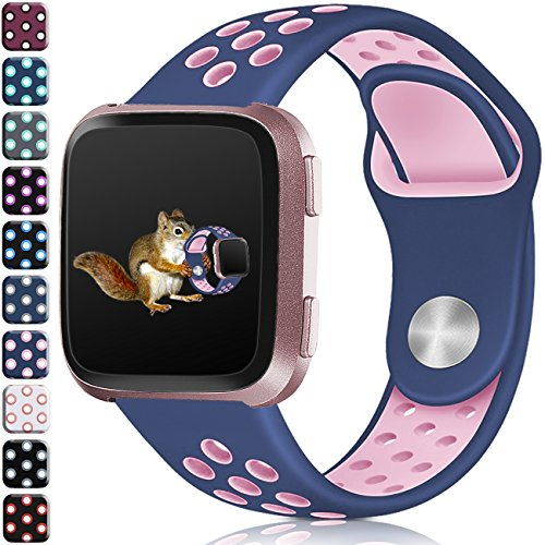 Wepro Bands Compatible with Fitbit Versa SmartWatch, Watch Silicone Replacement Band for Women Men Kids, Small, Blue on Pink