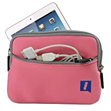 iGadgitz Pink Neoprene Sleeve Case Cover with Front Pocket for Apple iPad Mini 1st, 2nd Generation with Retina & New iPad Mini 3