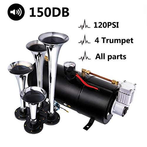 Jaketen 150DB Train Horns Kit for Trucks, Super Loud Train Horn Kit, Chrome 4 Trumpet Air Horn with 120 PSI Compressor for Any 12V Vehicles Trucks Trains Boats Cars Vans (Black)