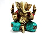 Ganesh Statue, Handmade Auth Large Brass Turquoise Ganesha Ganapati Vinayak Elephant Lord Hindu Deity Idol- India Good Luck Home Decor Collectible Diwali