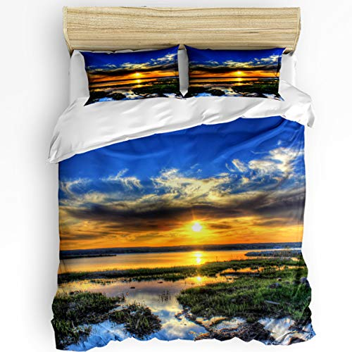 - King Size Duvet Cover Sets 3 Pieces Bedding Set for Boys Girls,The landscape of Lake Superior Sunset Pattern,Luxury Duvet Cover Set Include 1 Comforter Cover with 2 Pillow Cases Bedroom Collection