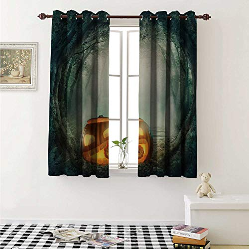 shenglv Halloween Customized Curtains Drawing of Scary Halloween Pumpkin Enchanted Forest Mystic Twilight Party Art Curtains for Kitchen Windows W63 x L45 Inch Orange Teal]()