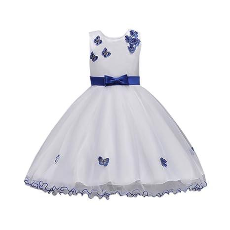 2ebc60ddea7e9 Oyedens Bambine Senza Maniche Principessa Abiti Eleganti Bambina Partito  Compleanno Comunione Swing Vestiti Da Cerimonia Bow