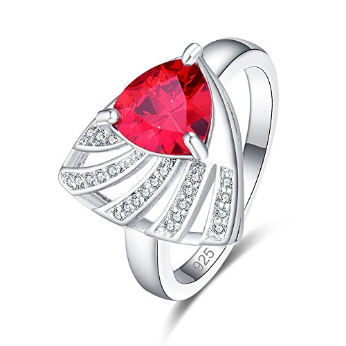 PAKULA Silver Plated Women Trillion Cut Simulated Garnet Ring (Necklace Gemstone Trillion)