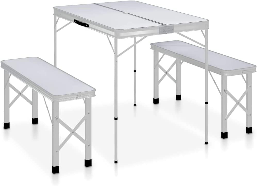 Festnight Folding Camping Table with 2 Benches Garden Party Tailgating BBQ Aluminium White