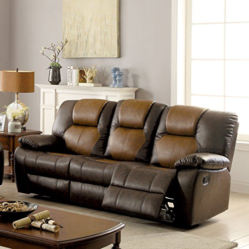 Furniture of America Carmez Two-tone Brown Leatherette Glider Reclining Sofa with Dropdown (Leatherette Glider)